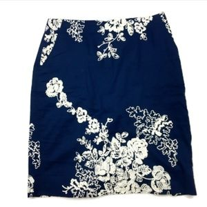 J.Crew Navy Embroidered Floral Pencil Skirt
